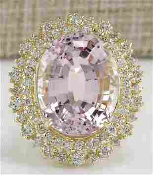 18.07 CTW Natural Kunzite And Diamond Ring 14K Solid