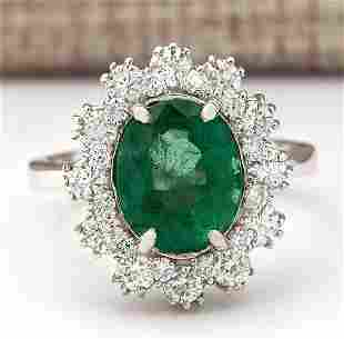 4.20 CTW Natural Emerald And Diamond Ring In 18K White