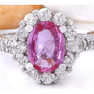 2.06 CTW Natural Sapphire 14K Solid White Gold Diamond