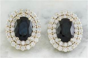 3.70 CTW Sapphire 14K Yellow Gold Diamond Earrings