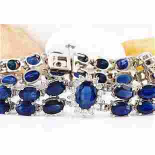 22.00 CTW Natural Sapphire 18K Solid White Gold Diamond