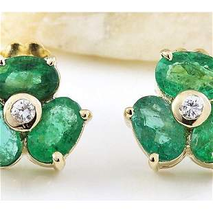 2.90 CTW Natural Emerald 14K Solid Yellow Gold Diamond