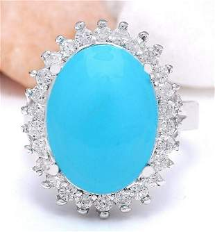 9.80 CTW Natural Turquoise 18K Solid White Gold Diamond