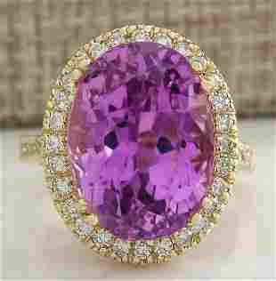 18.62 CTW Natural Kunzite And Diamond Ring 14K Solid