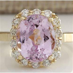 8.06 CTW Natural Kunzite And Diamond Ring 18K Solid