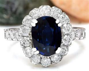 3.35 CTW Natural Sapphire 14K Solid White Gold Diamond