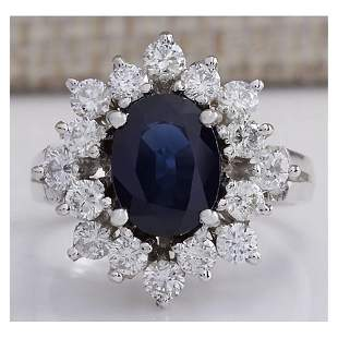 3.00 CTW Natural Blue Sapphire And Diamond Ring 18K