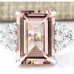 7.25 CTW Natural Morganite And Diamond Ring 18K Solid