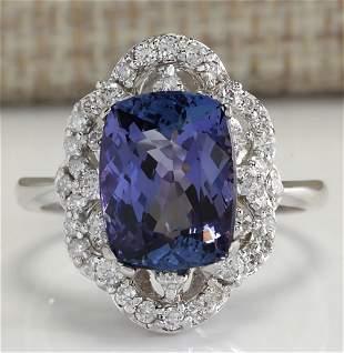 4.75 CTW Natural Blue Tanzanite And Diamond Ring 14K