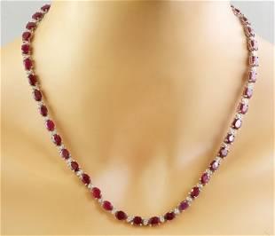 46.80 CTW Ruby 14K White Gold Diamond Necklace
