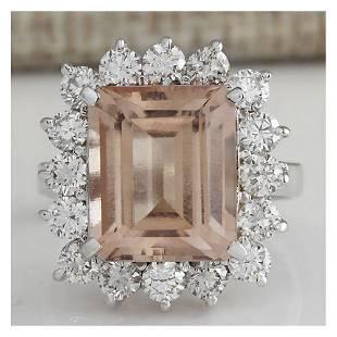 7.92 CTW Natural Peach Morganite And Diamond Ring In