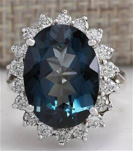 10.11CTW Natural London Blue Topaz And Diamond Ring