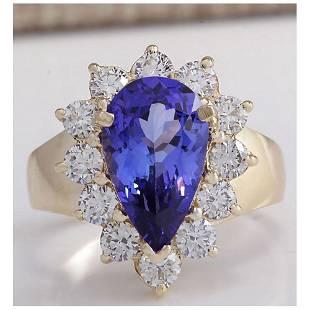 4.36 CTW Natural Blue Tanzanite And Diamond Ring 14K