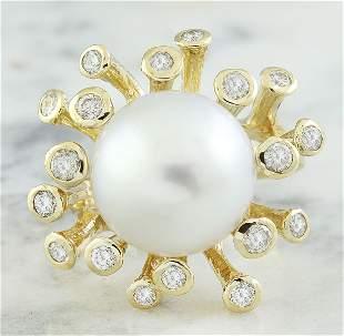 0.80 CTW 13.10 Millimeter Pearl 14K Yellow Gold Diamond