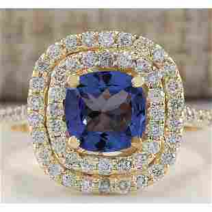 2.00 CTW Natural Blue Tanzanite And Diamond Ring 18K