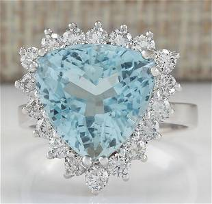 7.12 CTW Natural Aquamarine And Diamond Ring In 18K