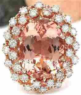 9.99 CTW Natural Morganite 14K Solid Rose Gold Diamond