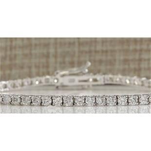 3.85 CTW Natural Diamond Bracelet In 18K Solid White