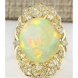 10.65 CTW Natural Opal And Diamond Ring In 18K Yellow