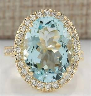 9.33 CTW Natural Blue Aquamarine And Diamond Ring In