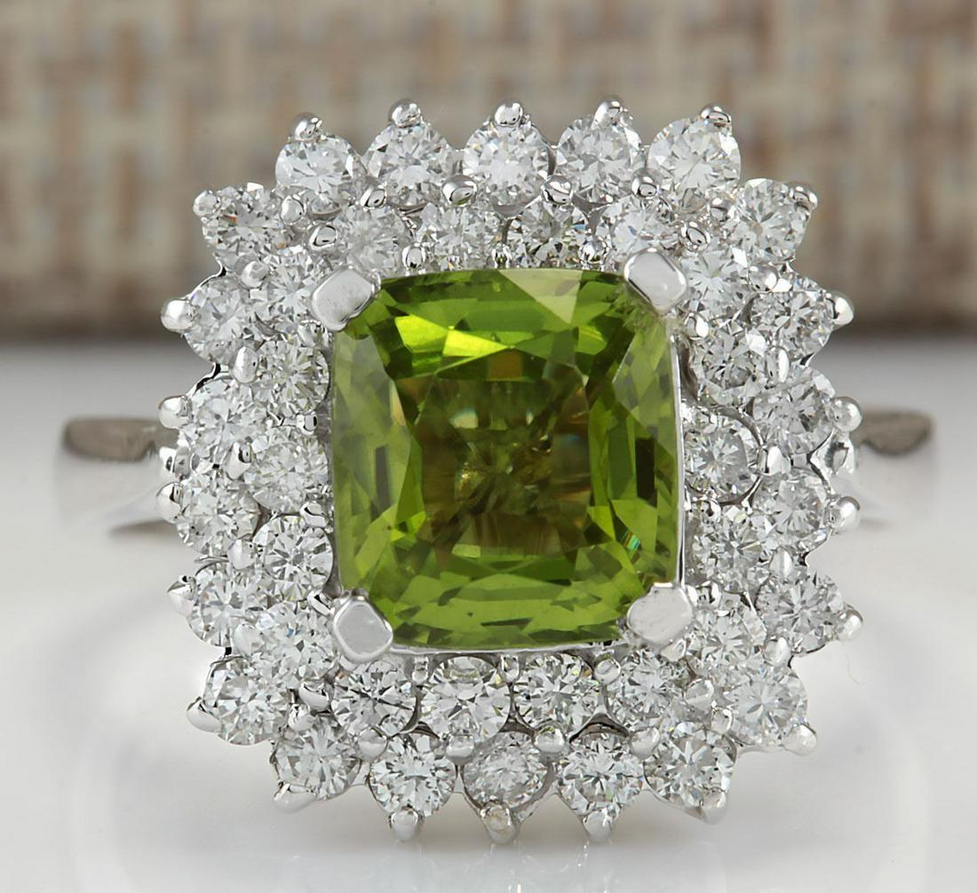 3.55 CTW Natural Peridot And Diamond Ring 14K Solid