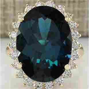14.11 CTW Natural London Blue Topaz And Diamond Ring