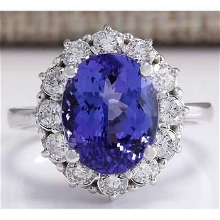 6.10 CTW Natural Blue Tanzanite And Diamond Ring 14K