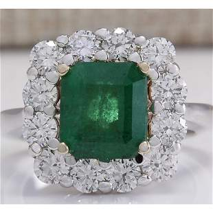 4.95 CTW Natural Emerald And Diamond Ring 14K Solid