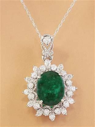 3.14 CTW Natural Emerald 14K Solid White Gold Diamond