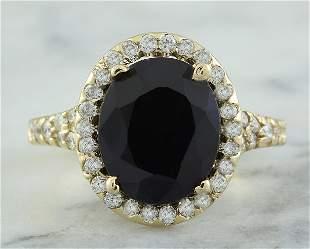 5.12 CTW Sapphire 14K Yellow Gold Diamond Ring