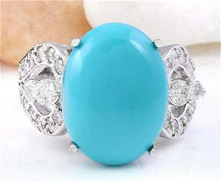 8.75 CTW Natural Turquoise 18K Solid White Gold Diamond