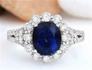 4.80 CTW Natural Sapphire 14K Solid White Gold Diamond
