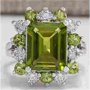 4.97 CTW Natural Green Peridot And Diamond Ring 18K