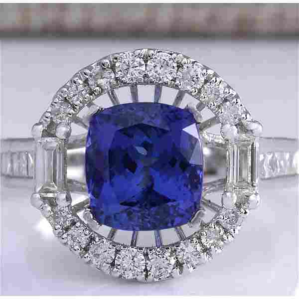 5.26CTW Natural Blue Tanzanite And Diamond Ring In 18K