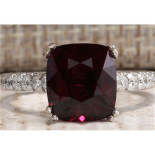 4.90CTW Natural Red Rhodolite Garnet And Diamond Ring