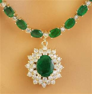 31.60 CTW Emerald 18K Yellow Gold Diamond Necklace