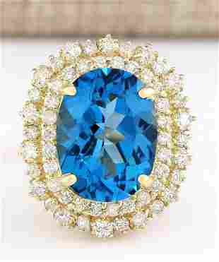 15.64 CTW Natural Blue Topaz And Diamond Ring In 14k