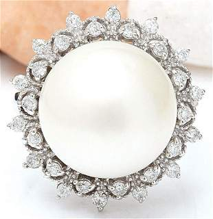 12.08 mm White South Sea Pearl 14K Solid White Gold