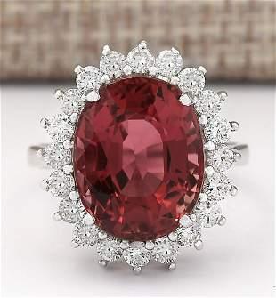 9.85 CTW Natural Pink Tourmaline And Diamond Ring 18K