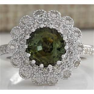 3.66 CTW Natural Green Sapphire Diamond Ring 18K Solid
