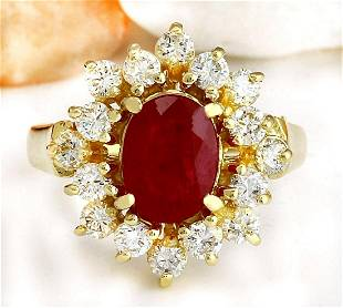 2.15 CTW Natural Ruby 14K Solid Yellow Gold Diamond
