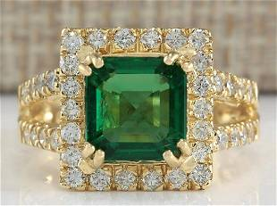 3.37 CTW Natural Emerald And Diamond Ring In 14K Yellow