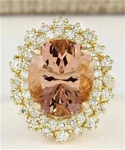 8.70 CTW Natural Morganite And Diamond Ring In 18K