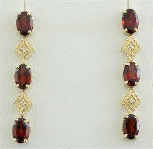 2.65 CTW Garnet 18K Yellow Gold Diamond Earrings