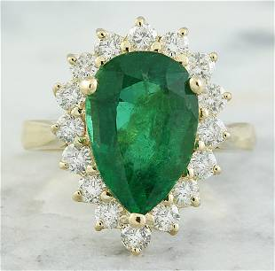 4.55 CTW Emerald 14K Yellow Gold Diamond Ring