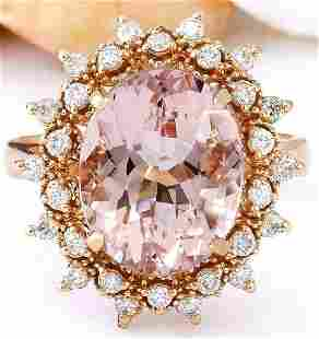 5.70 CTW Natural Morganite 18K Solid Rose Gold Diamond