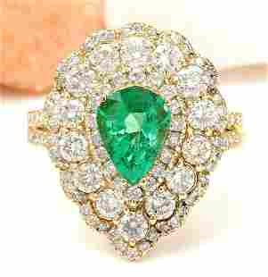 3.90 CTW Natural Emerald 18K Solid Yellow Gold Diamond