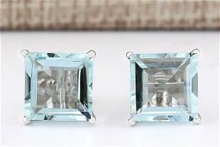 6.93 CTW Natural Aquamarine Earrings 18K Solid White