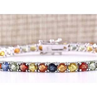 14.64 CTW Natural Multi-color Sapphire Bracelet In 14k