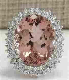 27.54CTW Natural Peach Morganite And Diamond Ring In